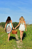 Two beautiful women walking at the meadow. Royalty Free Stock Image