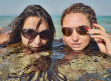 Two Beautiful Women Water Seashore Stock Photos