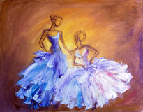 Two beautiful womenl. Oil painting. Stock Photos