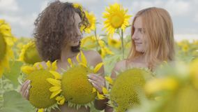 Two beautiful young confident woman looking at each other smiling standing in the sunflower field covering bodies with