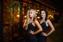 Two beautiful young female friends posing outside in the evening royalty free stock photography