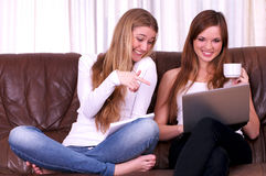 Two beautiful young females Stock Photography