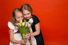 Two beautiful young girl with a bouquet of flowers Royalty Free Stock Image