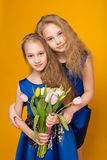 Two beautiful young girl with a bouquet of flowers Stock Images