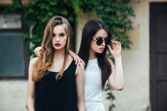 Two beautiful young girls in dresses Stock Photography