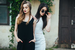 Two beautiful young girls in dresses Stock Image
