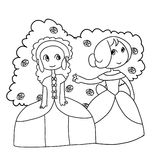 Two beautiful young girls. Illustration of two beautiful young girls with flowers Royalty Free Stock Image