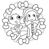 Two beautiful young girls. Illustration of two young girls inside a circular ribbon Stock Photos