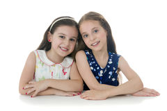 Two Beautiful Young Girls Posing for Photo Stock Image