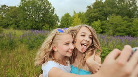 Two beautiful young girls taking self portrait outdoors on green spring park background. Two young blonde girls are photographed on the phone. Make selfie stock video footage