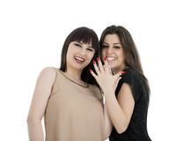 Two beautiful young sensual glamour women standing together over Royalty Free Stock Photos
