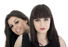 Two beautiful young sensual glamour women standing together over Stock Image