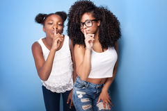 Two beautiful young sisters posing. stock image
