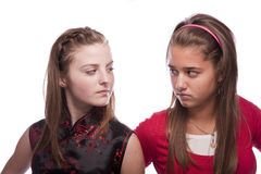 Two beautiful young teenage girls. Photo of a two nice looking young teenagers posing isolated on a white background Stock Image