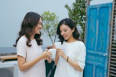 Two beautiful young well-dressed women chatting outdoors over co. Ffee stock photo