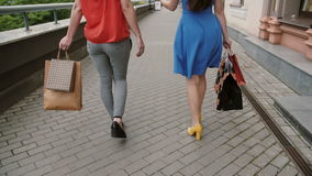 Two beautiful young woman friends walking with shopping bags, talking having fun, back view, slow mo stedicam shot stock video footage