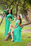 Two Beautiful young woman in green long dress Royalty Free Stock Photo
