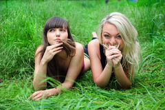 Two beautiful young women friends. Stock Images