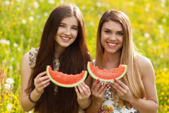 Two beautiful young women on a picnic Stock Images