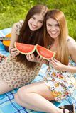 Two beautiful young women on a picnic Royalty Free Stock Photos