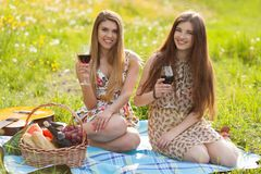 Two beautiful young women on a picnic Stock Image