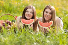 Two beautiful young women on a picnic Stock Photos