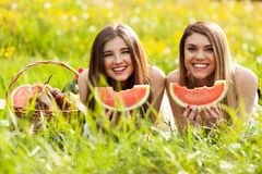 Two beautiful young women on a picnic Stock Photo