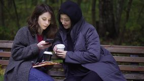 Two beautiful young women with a smartphone in a park. Two beautiful young women wearing coats are looking at a smartphone and talking while sitting on a bench stock footage