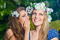 Portrait of two young beautiful women outdoors Royalty Free Stock Image