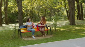 Two beautiful young women walking and chatting in the park stock video