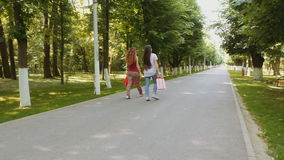 Two beautiful young women walking and chatting in the park stock footage