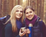 Two beautiful and young women walking in forest and drinking tea Stock Image