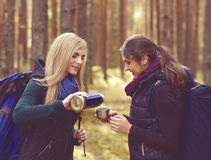 Two beautiful and young women walking in forest and drinking tea Royalty Free Stock Photos