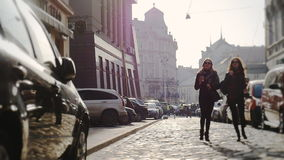 Two Beautiful youngs women with sunglasses walking in the city. stock video footage