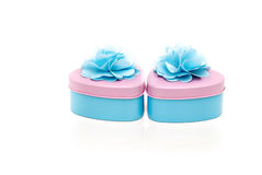 Two beautifully decorated heart shape containers in pastel color Stock Photography