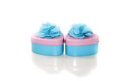 Two beautifully decorated heart shape containers Royalty Free Stock Photos