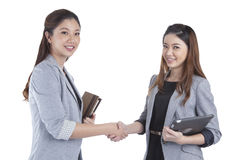 Two beauty businesswomen handshaking Royalty Free Stock Photo