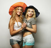 Two beauty girls with a microphone Royalty Free Stock Image