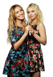 Two beauty girls with a microphone. Life style, happiness, emotional and people concept: two beauty girls with a microphone singing and having fun Stock Image