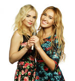 Two beauty girls with a microphone Royalty Free Stock Photography