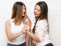 Two beauty hipster girls with a microphone Stock Photography