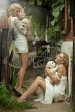 Two beauty ladies stock photos