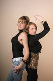 Two beauty posing girls Stock Images