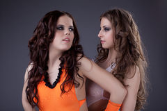 Two beauty sexy go-go dancers portrait Royalty Free Stock Photography