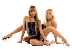 Two beauty woman in black Stock Image