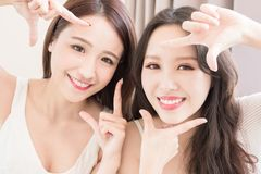 Two beauty woman in home Royalty Free Stock Photos