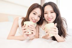 Two beauty woman in home Stock Photography