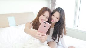 Two beauty woman selfie happily Stock Photos