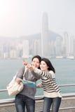 Two beauty woman take map Stock Photos