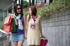 Two beauty women having fun together holding shopping bags with luggage stock photo